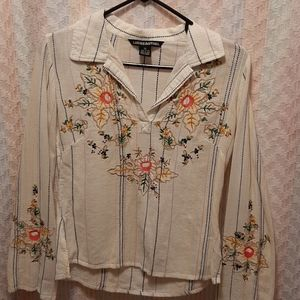 Boho style Striped Embroidered Longsleeve Top